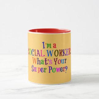 Mug Super héros d'assistant social, texte coloré