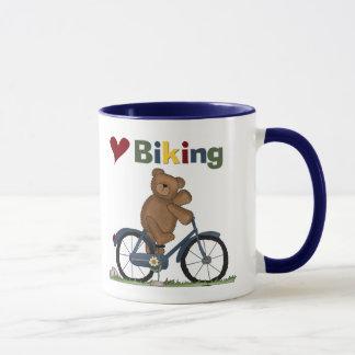 Mug T-shirts faisants du vélo et cadeaux d'amour bleu
