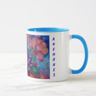 Mug Tasses, florales, anémones, paainting
