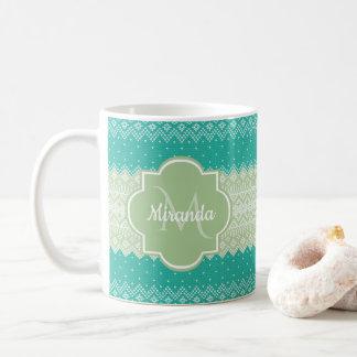 Mug Teal à la mode et motif et nom vert clair de Knit