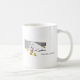 Mug Tennis humoristique jouant le chien