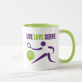 Mug Tennis : Vivant. Amour. Service