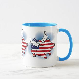 Mug Th des 4-4 juillet des porcs patriotiques de vol