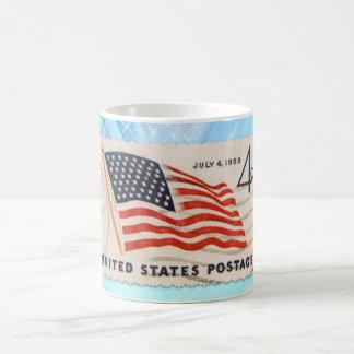 Mug Timbre-poste américain vintage de Jour de la