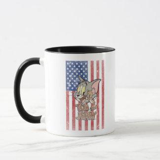 Mug Tom et Jerry avec le drapeau des USA