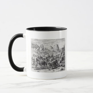Mug Train de paquet des lamas chargés avec de l'argent