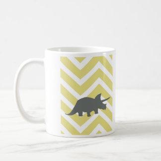 Mug Triceratops sur le chevron de zigzag - jaune