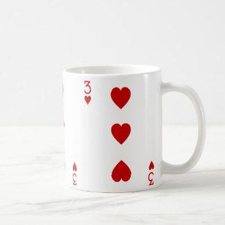 Mug Trois de la carte de jeu de coeurs