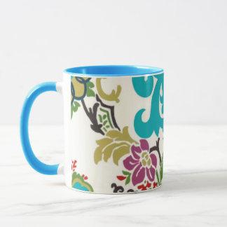 Mug Turquoise florale de prune de motifs de damassé