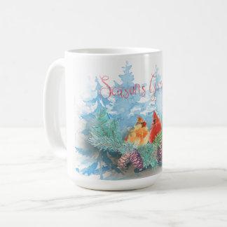Mug Vacances de Noël - arbres de cardinaux d'aquarelle