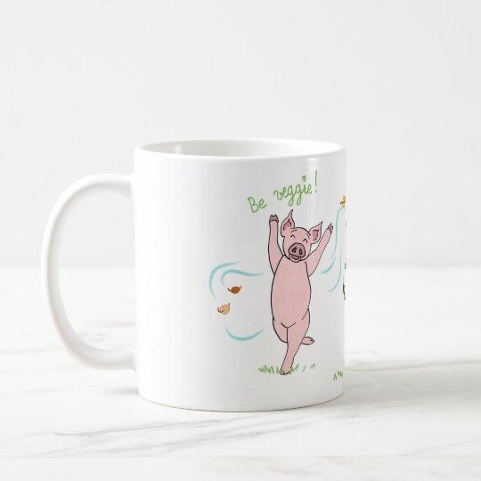 Mug vegan, cochon, vache et mouton : Be veggie !