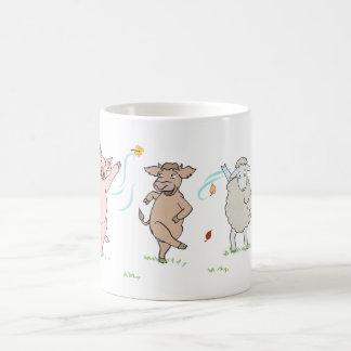 Mug vegan, cochon, vache et mouton qui dansent