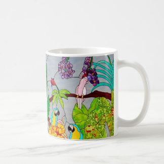Mug Verre souillé avec des oiseaux