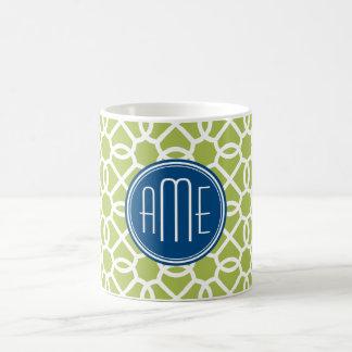Mug Vert de chaux et monogrammes géométriques bleus de