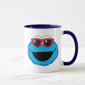 Mug Visage de sourire de biscuit avec des lunettes de
