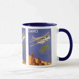 Mug Voyage vintage vers le Caire, Eygpt, avion de