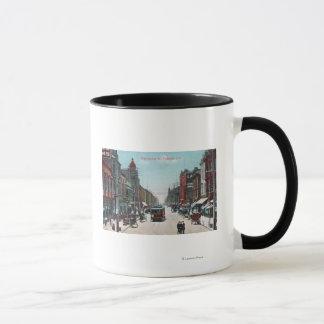 Mug Vue de rue de Washington avec des funiculaires