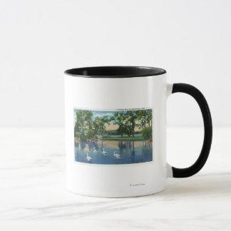 Mug Vue pittoresque des cygnes sur le lac