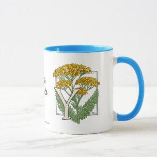 Mug Y pour l'alphabet de fleur de millefeuille