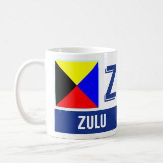 """Mug Zoulou nautique de l'alphabet """"Z"""" de drapeaux"""