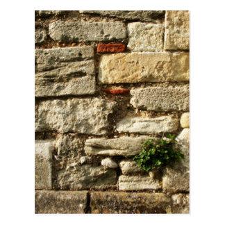 Mur en pierre. Avec la petite usine Carte Postale