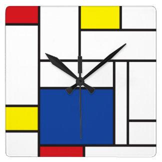 Mur minimaliste Cloc d art moderne de Mondrian de Horloge