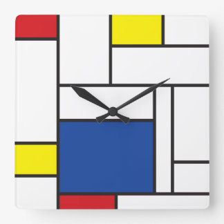 Mur minimaliste Cloc d'art moderne de Mondrian de  Horloge