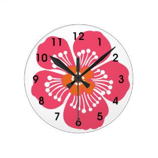 Mur tropical rose Clcok de fleur Horloge Ronde