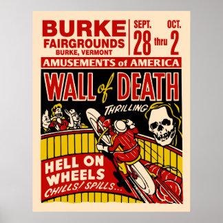 Mur vintage d'affiche de moto de la mort posters