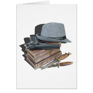 MurderMysteryBooksGunKnivesFedora042113.png Carte De Vœux