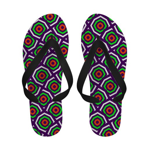 Mûre et octogones abstraits de vert flip flops