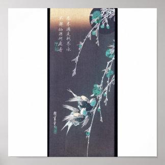 Musardez, des hirondelles, et des fleurs C. 1850 d Poster