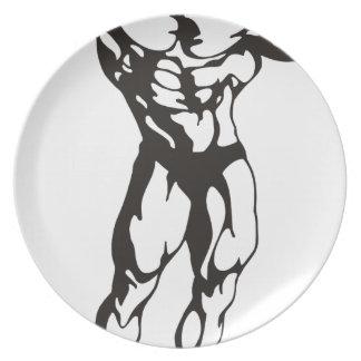 Muscles d'homme de forme physique assiette