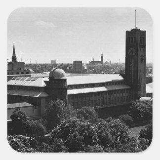 Musée vintage 1970 de l'Allemagne Munich Allemand Sticker Carré