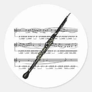 Musical 01 B de hautbois Sticker Rond