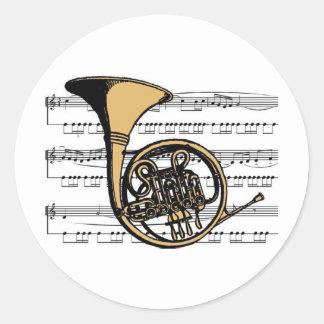 Musical 06 B de cor de harmonie Sticker Rond