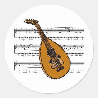 Musical 15 B de mandoline Sticker Rond