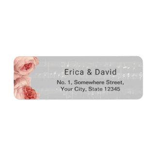 Musical floral élégant d'arrière - plan de musique étiquettes d'adresse retour