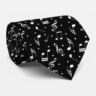 Musical noir de motif de musique et blanc chic cravates