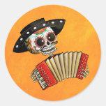 Musicien de Dia de Muertos Skeleton Adhésif Rond