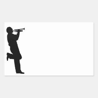 Musicien de jazz noir et blanc de trompette sticker en rectangle