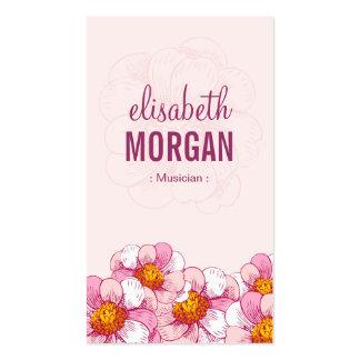 Musicien - fleurs roses de boutique carte de visite standard