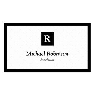 Musicien - monogramme élégant simple modèle de carte de visite