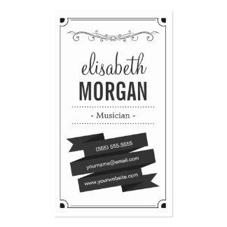 Musicien - rétro noir et blanc modèles de cartes de visite