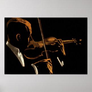 Musicien vintage, violoniste jouant la musique de posters