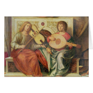 Musiciens d'ange de la peinture de la Vierge et Carte De Vœux