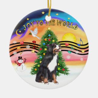 Musique 2 de Noël - chien de montagne de y Bernese Ornement Rond En Céramique