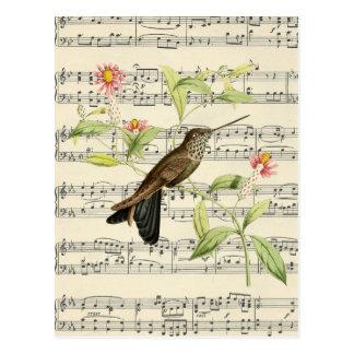 musique botanique de colibri de carte postale