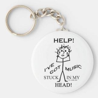 Musique coincée dans ma tête porte-clé rond