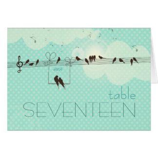 Musique d'amour - carte de nombre de table